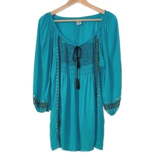 Krista Lee Boho Peasant Beaded Hippie Top